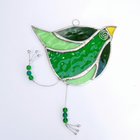 Stained Glass Funky Bird Suncatcher  - Handmade Decoration - Dark and Pale Green