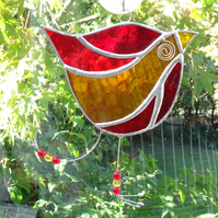 Stained Glass Funky Bird Suncatcher  - Handmade Decoration - Red