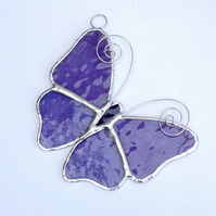 Stained Glass Butterfly Suncatcher - Handmade Decoration - Mauve