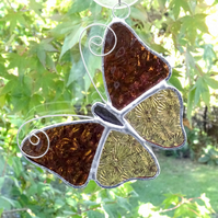 Stained Glass Butterfly Suncatcher - Handmade Decoration - Rose and Pale Pink