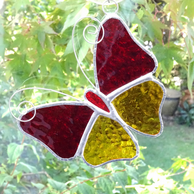 Stained Glass Butterfly Suncatcher - Handmade Decoration - Red and Amber