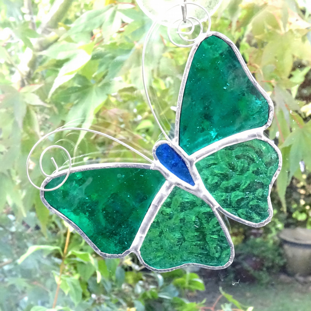 Stained Glass Butterfly Suncatcher - Handmade Decoration - Sea Green