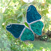 Stained Glass Butterfly Suncatcher - Handmade Decoration - Teal and Turquoise
