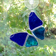 Stained Glass Butterfly Suncatcher - Handmade Decoration - Blue and Turquoise