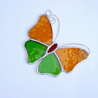 Stained Glass Butterfly Suncatcher - Handmade Decoration - Amber and  Green