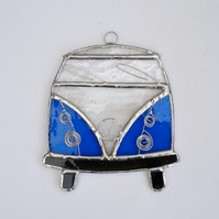 Stained Glass Camper Van Suncatcher - Handmade Decoration Turquoise and White