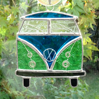 Stained Glass Camper Van Suncatcher - Handmade Decoration Turquoise and Green