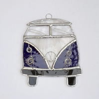Stained Glass Camper Van Suncatcher - Handmade Decoration Purple and White