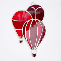 Stained Glass Hot Air Balloons Suncatcher - Handmade Hanging Decoration - Red