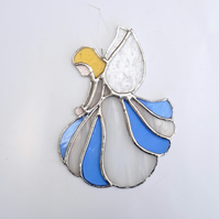 Stained Glass Angel Suncatcher - Handmade Hanging Decoration - White and Blue