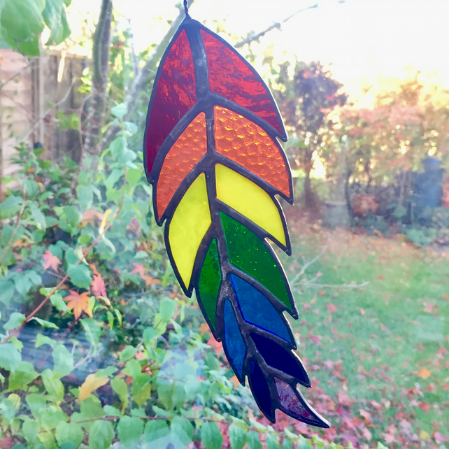 Stained Glass Feather Suncatcher - MADE TO ORDER