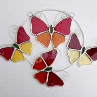 Stained Glass Butterfly Ring - Handmade Hanging Decoration Red and Amber