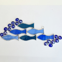 Stained Glass Shoal of Fish Suncatcher - Handmade Hanging Decoration