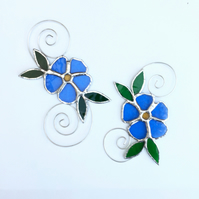 Stained Glass Single Forget Me Not Suncatcher - Handmade Hanging Decoration