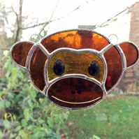 Stained Glass Monkey Suncatcher - Handmade Hanging Window Decoration
