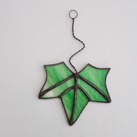 Stained Glass Leaf Suncatcher Small - Handmade Decoration - Light Green Streaky