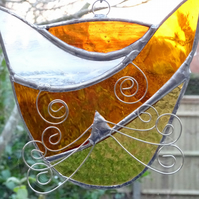 Stained Glass Cat Suncatcher - Handmade Window Decoration