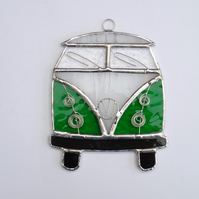 Stained Glass Camper Van Suncatcher - Handmade Decoration  - Green and White