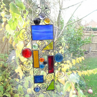 Stained Glass Garden Hanger Suncatcher - Handmade Decoration  - Blue