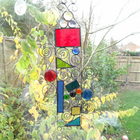 Stained Glass Garden Hanger Suncatcher - Handmade Decoration  - Red