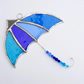 Stained Glass Umbrella Suncatcher - Handmade window Decoration - Blue