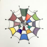 Stained Glass Cobweb Suncatcher - Handmade Window Decoration