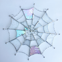 Stained Glass Cobweb Suncatcher TO ORDER - Handmade Window Decoration - Clear