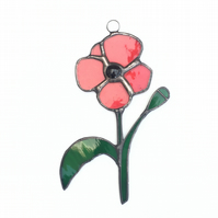 Stained Glass Poppy Suncatcher - Handmade Window Decoration