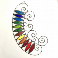 Stained Glass Abstract Suncatcher- Handmade Window Decoration