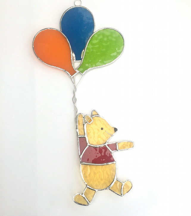 Stained Glass Bear and Balloon Suncatcher- Handmade Window Decoration