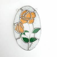 Stained Glass Rose Suncatcher - Handmade Window Decoration