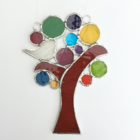 Stained Glass Bird in a Tree Suncatcher - Handmade Window Decoration