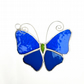 Stained Glass Butterfly Suncatcher - Handmade Decoration - Turquoise and Blue