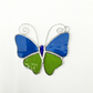 Stained Glass Butterfly Suncatcher - Handmade Decoration - Turquoise and Lime