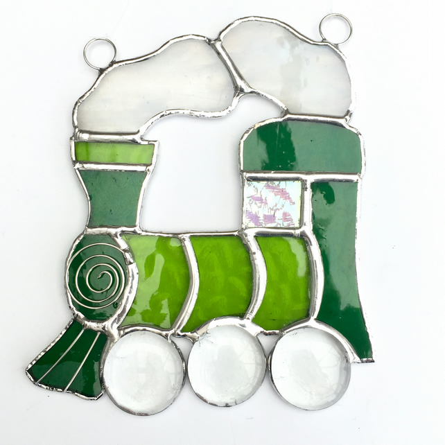 Stained Glass Train Suncatcher - Handmade Hanging Decoration - Green