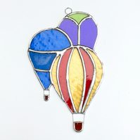 Stained Glass Hot Air Balloons Suncatcher - Handmade Hanging Decoration - Multi