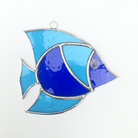 Stained Glass Fish Suncatcher - Handmade Window Decoration- Dark and Sky Blue