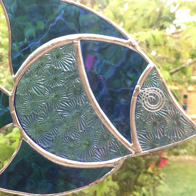 Stained Glass Fish Suncatcher - Handmade Window Decoration - Blue