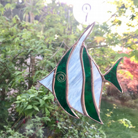Stained Glass Angel Fish Suncatcher - Handmade Decoration - Green and White