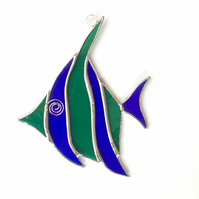 Stained Glass Angel Fish Suncatcher - Handmade Decoration - Green and Blue