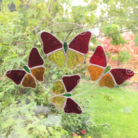 Stained Glass Butterfly Ring - Handmade Hanging Decoration - Red and Amber