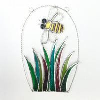 Stained Glass Bee over Grass Suncatcher - Handmade Window Decoration