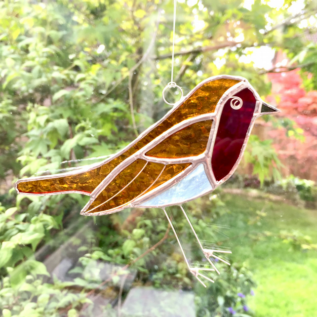 Stained glass  robin window decoration