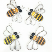 Stained Glass Bee Suncatcher - Handmade Hanging Decoration