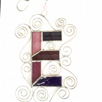 Stained Glass Letter E Suncatcher - Handmade Window Decoration - Pink and Purple
