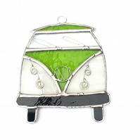 Stained Glass Camper Van Suncatcher - Handmade Decoration - Lime and White
