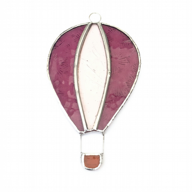 Stained Glass Hot Air Balloon Suncatcher - Handmade Decoration - Pink