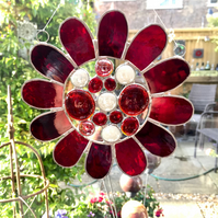 Stained Glass Bead Daisy Suncatcher - Handmade Window Hanging Decoration - Red