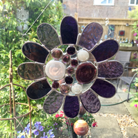 Stained Glass Bead Daisy Suncatcher - Handmade Window Hanging Decoration - Purpl