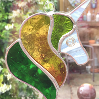 Stained Glass Unicorn Suncatcher - Handmade Decoration - Lime Amber Green